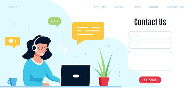 Contact us form template for web and landing page. caucasian woman with headphones and microphone with laptop. concept illustration for support, assistance, call center.