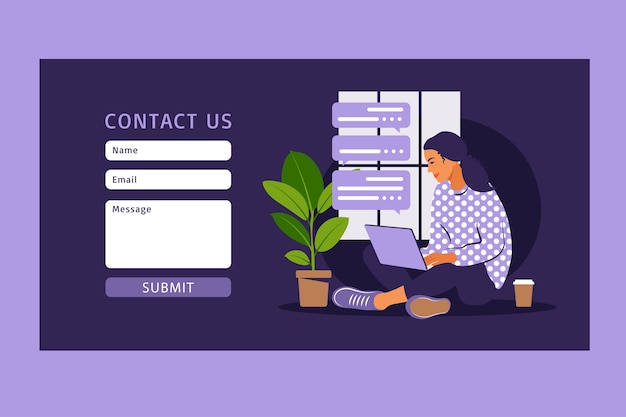 Contact us form template for web and landing page. female customer talking with client. online customer support, help desk concept and call center.