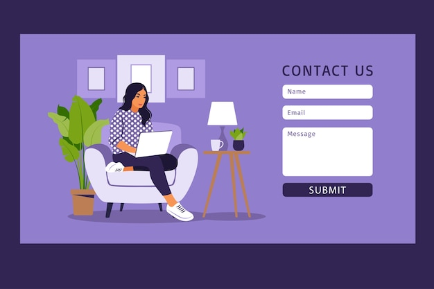 Contact us form template for web and landing page. freelancer girl working at home on laptop. online customer support, help desk concept and call center.