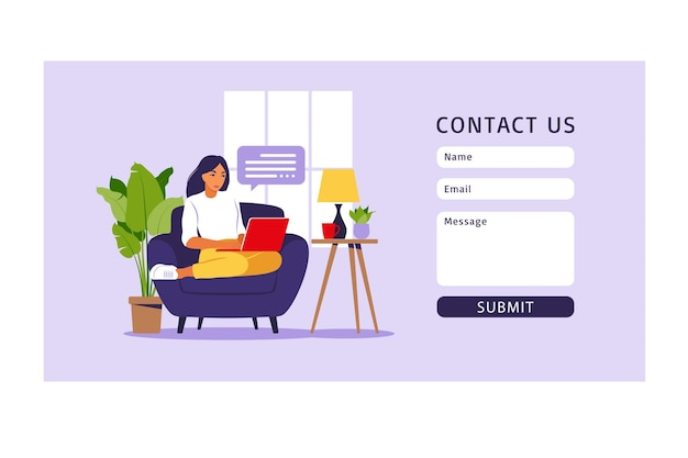 Contact us form template for web and landing page. freelancer girl working at home on laptop.