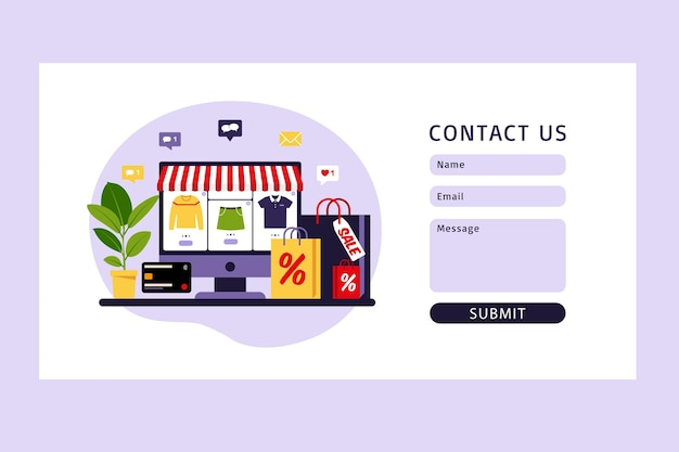 Contact us form template for web. online shopping.