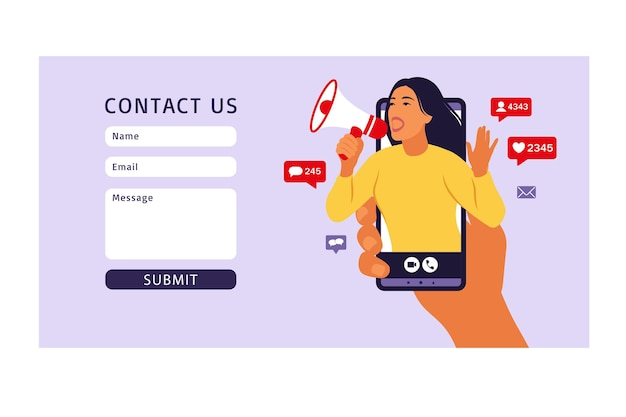 Contact us form template for web