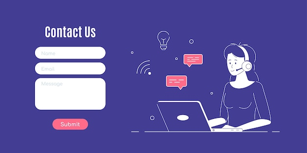 Contact us form template. woman with headphones and microphone with laptop. concept illustration for support, assistance, call center.