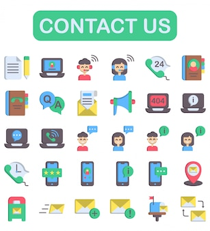 Contact us icons set, flat style