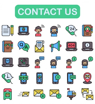 Contact us icons set, lineal color style
