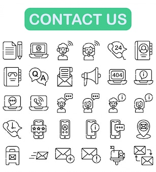 Contact us icons set, outline style