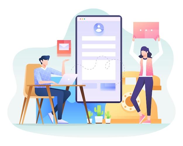 お問い合わせイラスト、ビジネスと連絡を取るためのいくつかの方法。