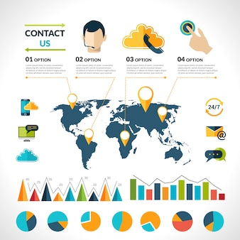 Contact us infographics set