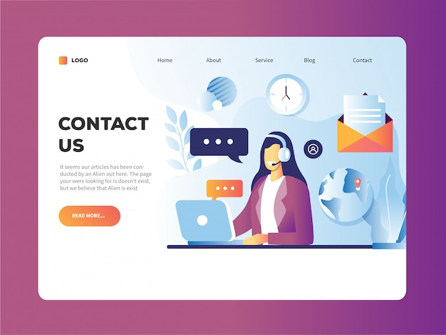 Contact us landing page design template