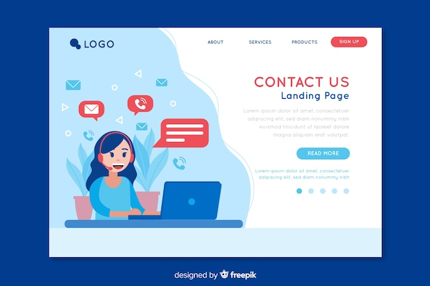 Contact us landing page design