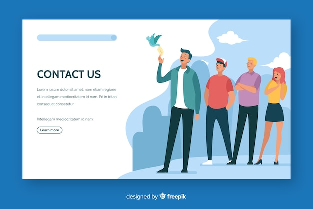 Contact us landing page flat design