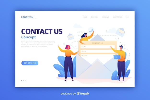 Contact us landing page flat style