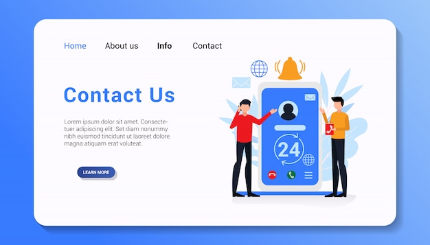 Contact us landing page template flat design illustration