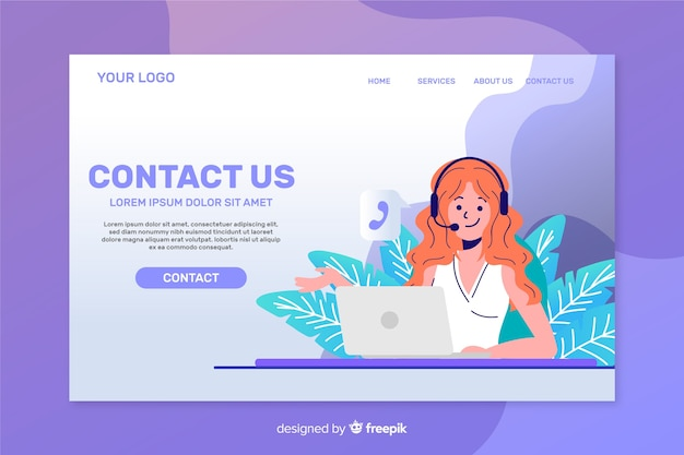 Contact us landing page template flat design