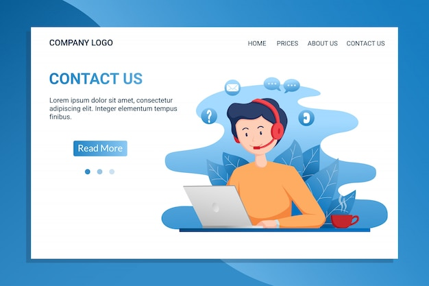 Contact us landing page template with young man wear headphone