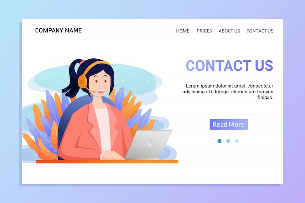 Contact us landing page template with young women wear headphone a