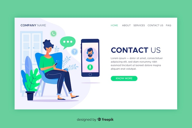 Contact us landing page web template