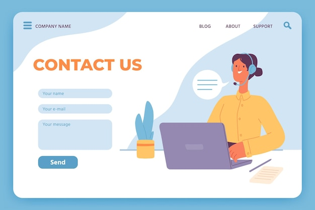 Contact us landing page. website customer service, female operator with laptop and email feedback form. online call center vector template. illustration contact internet website, support mail online