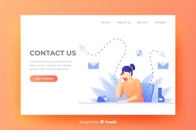 Contact us landing page website