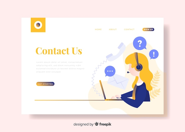 Contact us landing page with call center agent