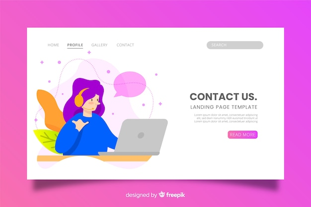 Contact us landing page with character