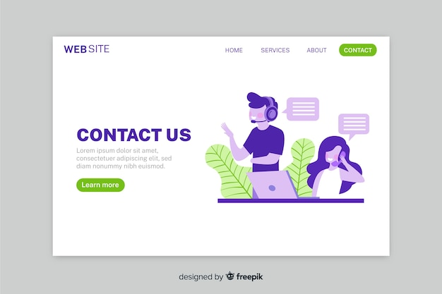 Contact us landing page with colorful operators talking