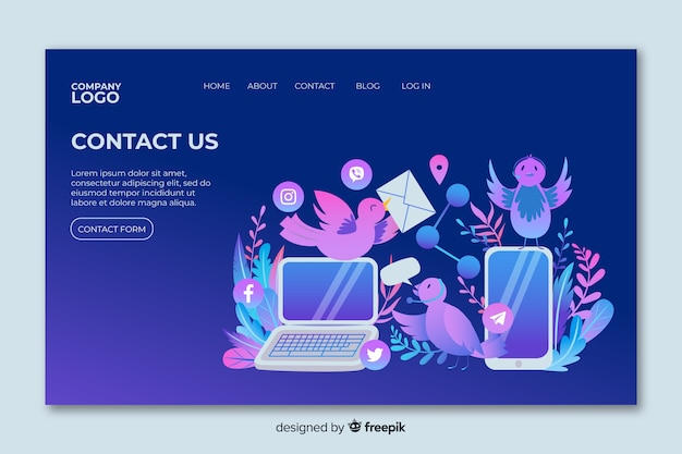 Contact us landing page with devices and birds