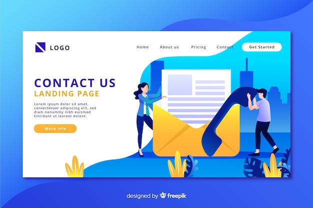 Contact us landing page with envelope and phone