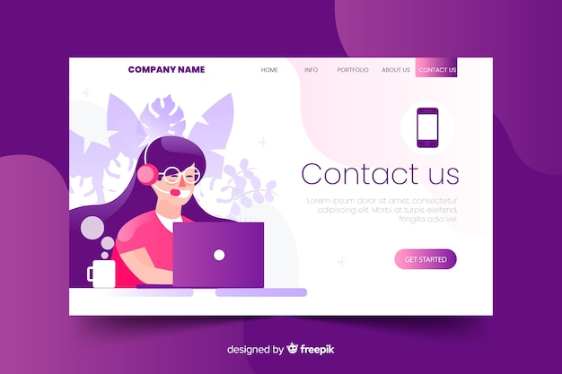 Contact us landing page with flat design