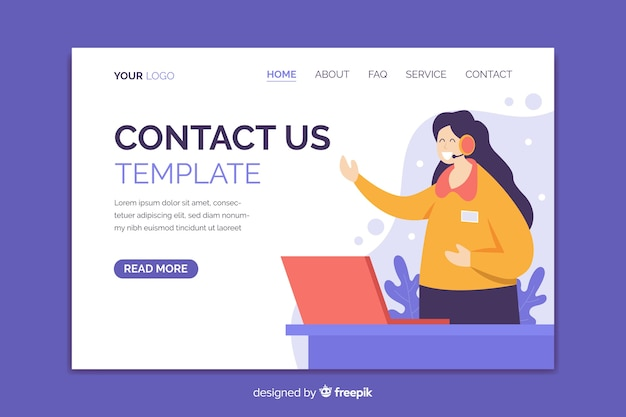 Contact us landing page with illustrations template