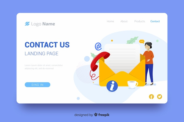 Contact us landing page with mail and female