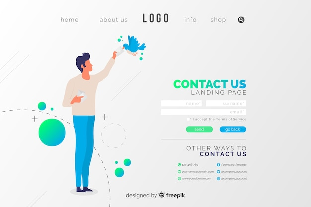 Contact us landing page with man and a bird