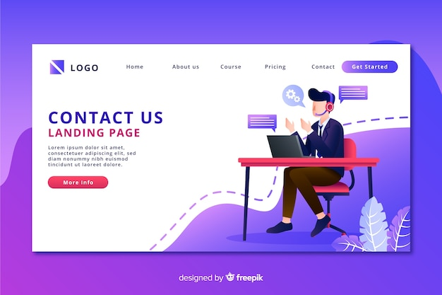 Contact us landing page with man on a desk