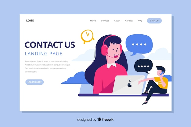 Contact us landing page with operators communicating