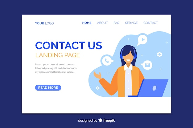 Contact us landing page with smiling character