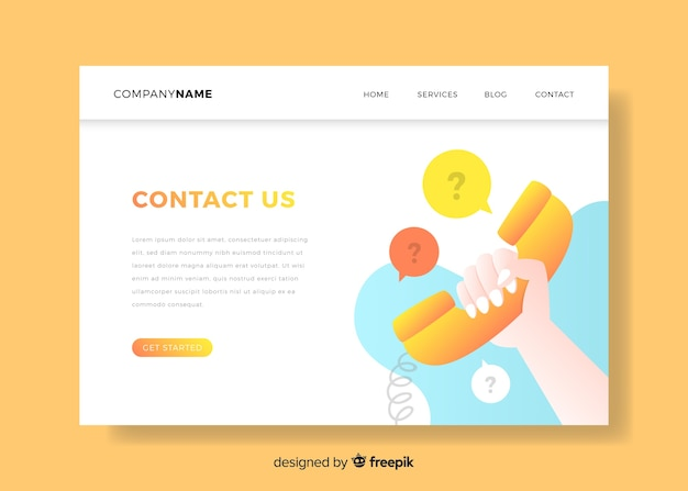 Contact us landing page with telephone