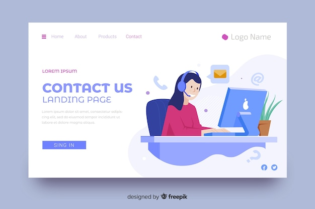 Contact us landing page with woman and headphones