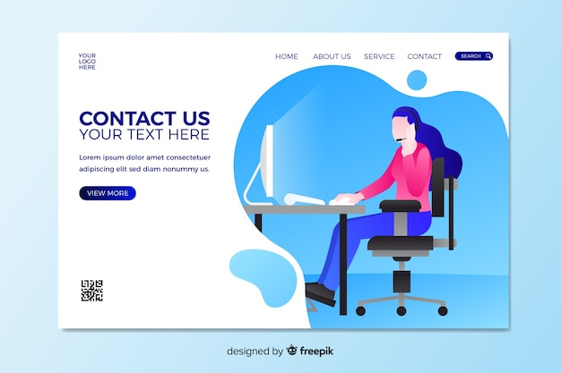 Contact us landing page with woman sitting at desk