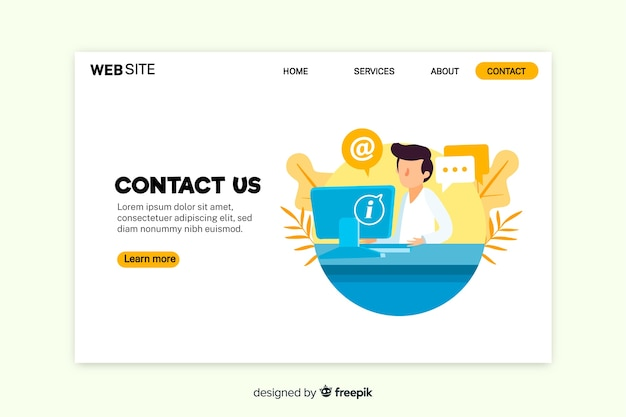 Contact us landing page with working person