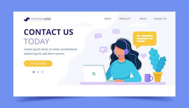 Contact us landing page. woman with headphones and microphone with computer.