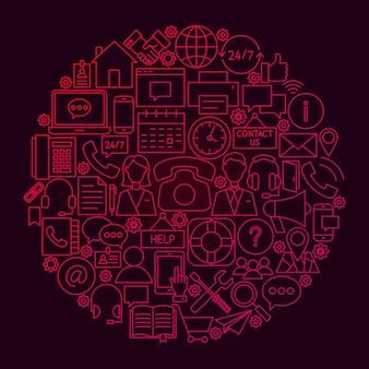 お問い合わせラインサークルコンセプト。ビジネスアウトラインオブジェクトのベクトルイラスト。