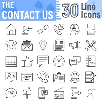 Contact us line icon set, web symbols collection