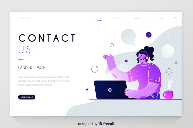 Contact us professional landing page