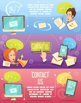 Contact us retro cartoon banners set with customer service 24h email call center