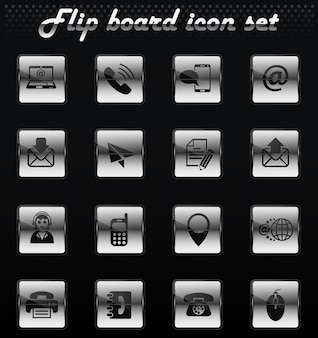 Contact us vector flip mechanical icons for user interface design