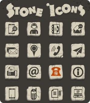 お問い合わせ石器時代のスタイルの石ブロックのベクトルアイコン
