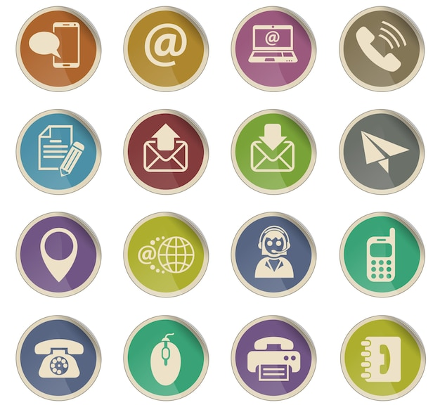 Contact us web icons in the form of round paper labels