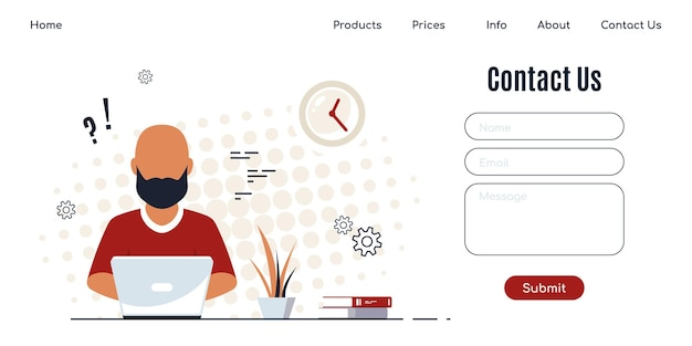 Contact us web page design template in flat style