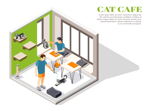 Contact zoo contact farm zoocafe isometric composition with people and and their pets