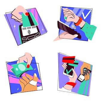 Contactless and cash payments set pos terminal smartphone credit card smartwatch